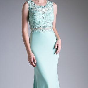 Cinderella's Closet Dresses - Mint Sleeveless Prom Trumpet Long Dress